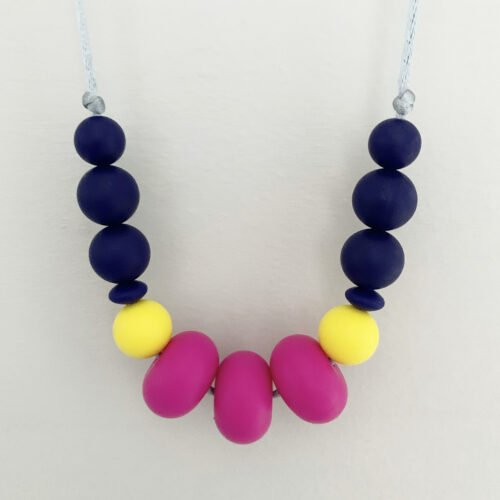 Crafted by Kate, hot pink and navy necklace