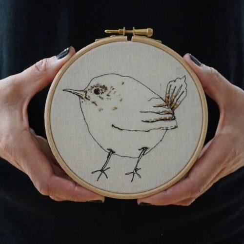 Gemma Rappensberger Embroidered illustration of a Jenny wren bird