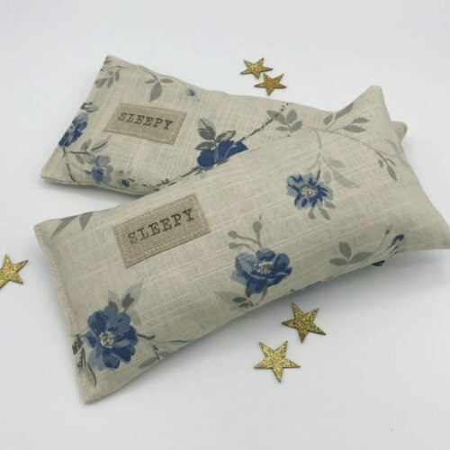 Lavender filled sleep pillow in grey and blue floral fabric