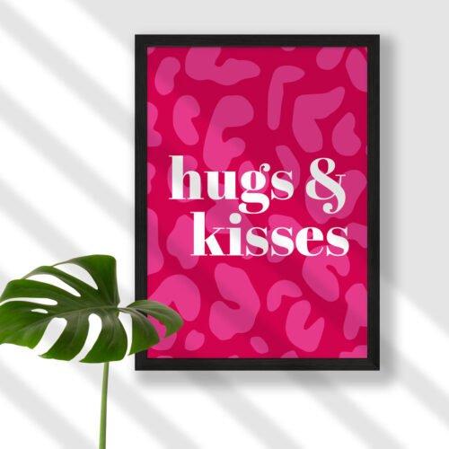 Design and Tea 'hugs and kisses' pink leopard print art print