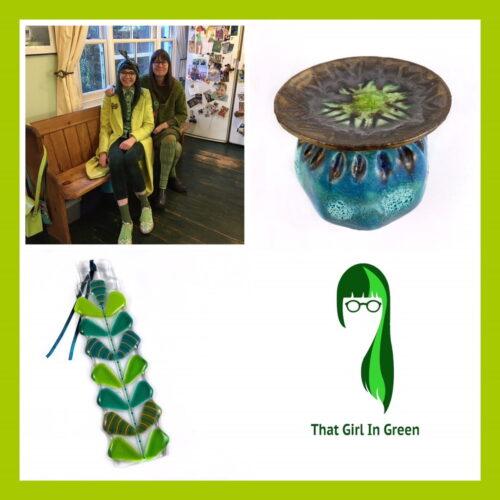 That Girl In Green, handmade ceramic poppy decorations, handmade glass Suncatcher