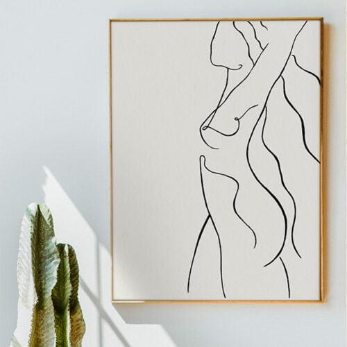 naked nude minimalist painting framed on wall