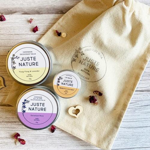Juste Nature Mini Self Care Gift Set, Natural Deodorant Balm, Moisturising Lip Balm, All-In-One Moisturising Balm, Preservatives Free natural and organic skincare