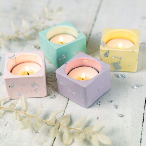 Pastel jesmonite tea light holders