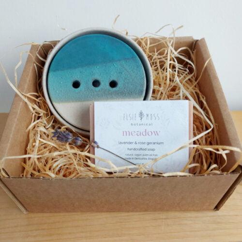 Tiree Sea Glaze ceramic soap dish gift set including handmade soap