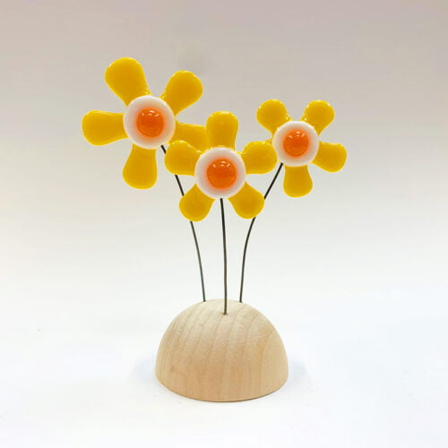 Yellow fused glass fused glass flower sculpture