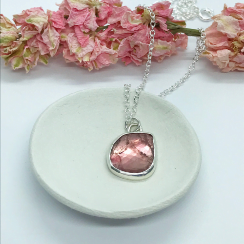 LorriSilverjewellery, peach tourmaline necklace on a white bowl