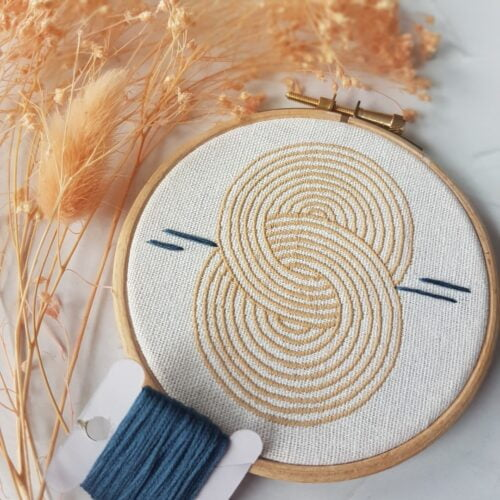 A 4 inch hoop machine embroidered with entwined circles