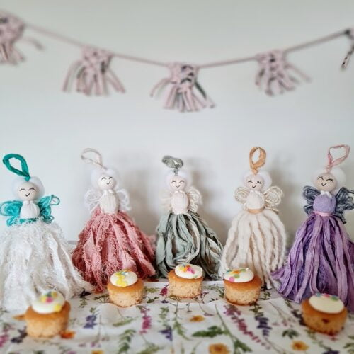 Dolly & Dot Creative, five differently coloured fairies having a picnic, fairytale