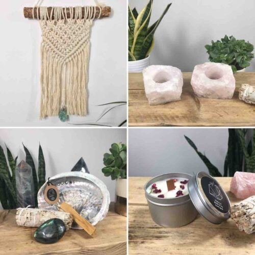 Sharon Mckinley Designs, Macrame Wall hanging with Quartz Crystal centre piece, rose quartz t light holders, smudging set with soy wax candles