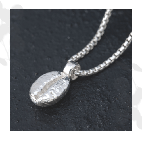 Silver Coffee Bean Necklace Unisex How Fine Designs