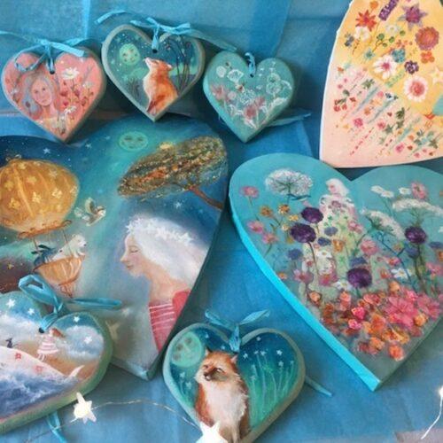Kate Van Suddese Artist & Illustrator, hand painted wooden hearts