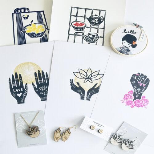 lino prints and jewellery