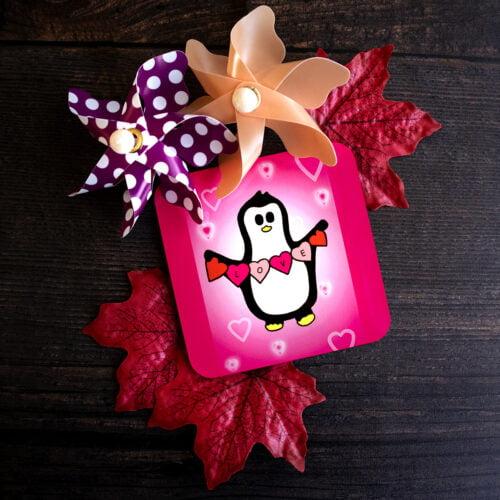 Crafty Penguin Pink Love Coaster Coaster