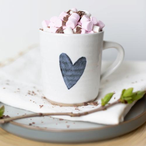 Rachel Carpenter Ceramics, Heart Mug Marshmallows