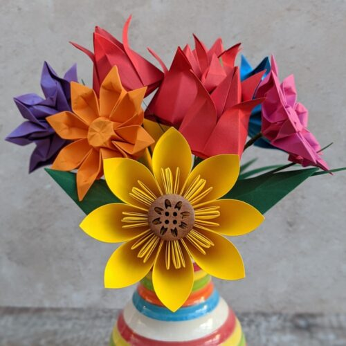 Origami Blooms - custom bouquet of colourful paper flowers