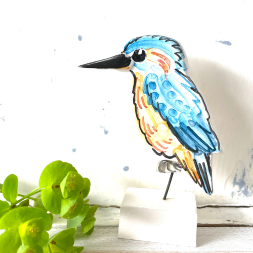 Kingfisher pottery ornament Louise Crookenden Johnson