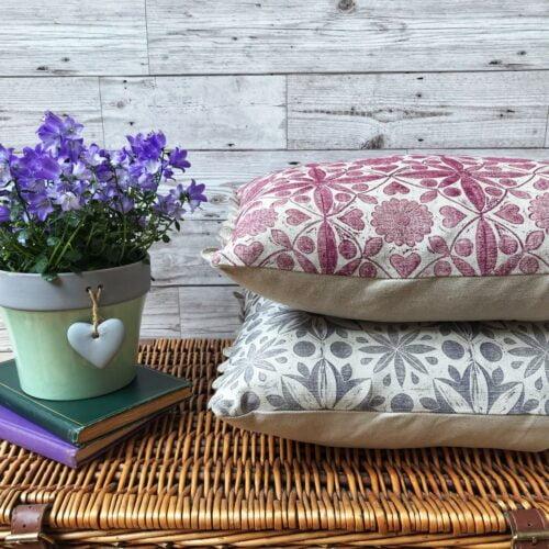 Cushie Doo Textiles Hand Printed Linen Bolster Cushions