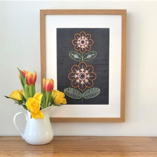 Embroidered flower wall art