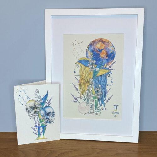 Autumn Bella Designs Gemini Twins Print and Gemini Skulls Card Set