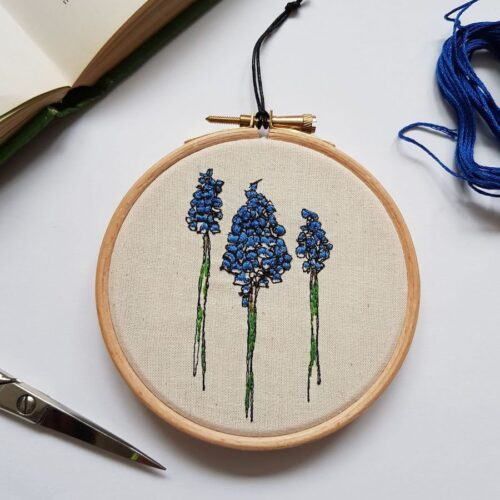 Gemma Rappensberger Embroidered illustration of a Muscari Grape Hyacinth Flower