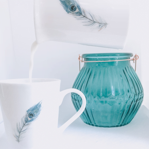Peacock Feather jug and mug