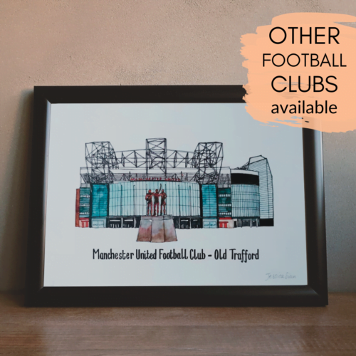 Jessica Sian Illustration. A print of Old Traffors, Manchester United's football stadium. It is a print of the artist's original watercolour and fineliner painting.