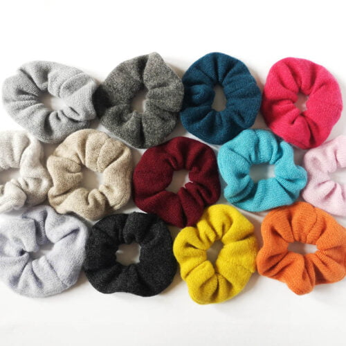 Lyndsey Currie Knitted Scurnchies, selection of knitted lambswool scrunchies, colourful scrunchies