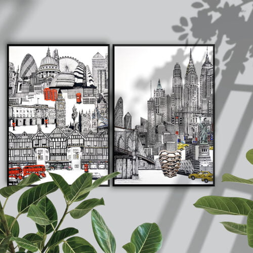 A London Skyline and A New York Skyline Fine Art Prints in thin black frames, against a Grey wall with plants in the foreground