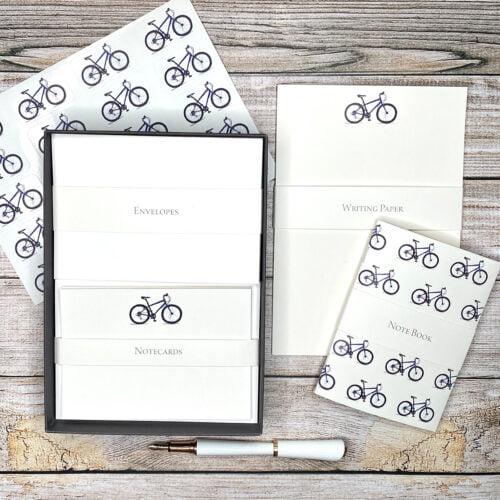 A writing set with mountain bike design