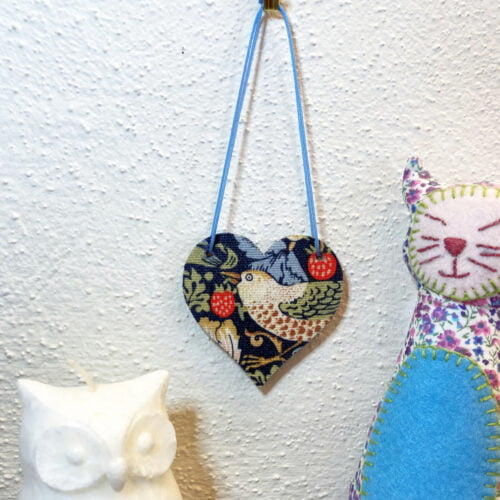 Morris Strawberry Thief fabric wooden heart hanging decoration by Bowerbird Jewellery