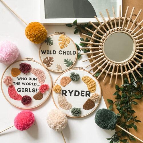 Autumn Pear, Custom Embroidery Hoop
