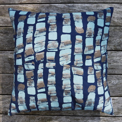 Hand screen printed Hebble cushion in navy blue and gold.