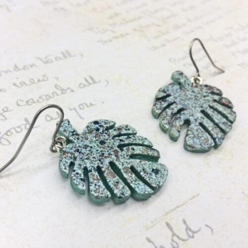 monstera leaf aquamarine wooden dangle earrings