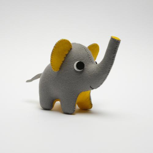 grey and yellow felt elephant