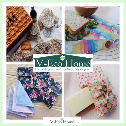 V-Eco Home, quartet of images of FOODWRAPS AND PAMPER PACKS