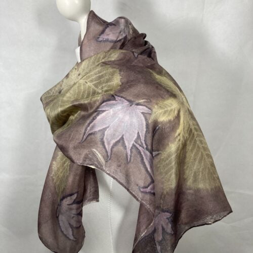 Small silk scarf handed with oak gall nut and handprinted with horse chestnut and Japanese acer