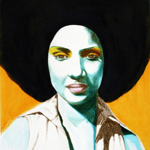 KamsArthouse Phylicia print of blue lady with black afro and yellow background