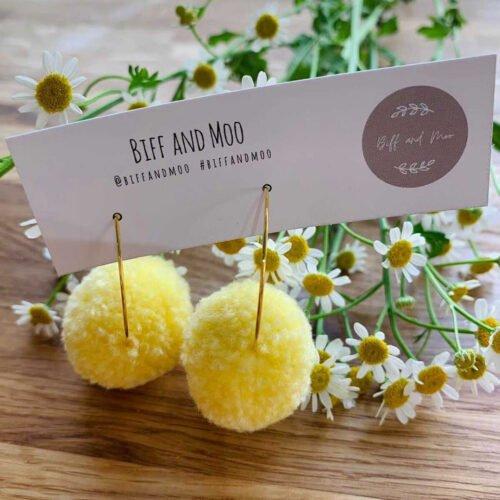 Biff and Moo, Lemon Pom Pom Earrings