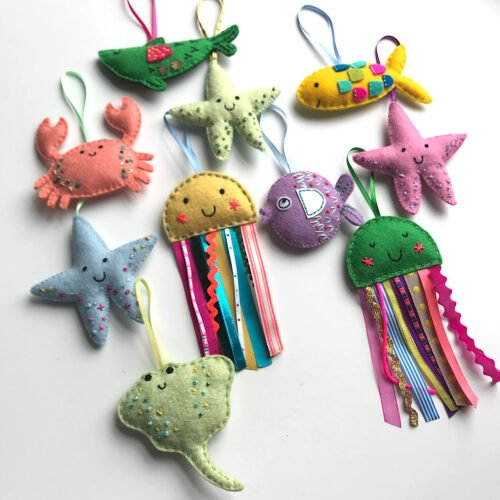 Lavender bags made from felt in happy sea creature shapes