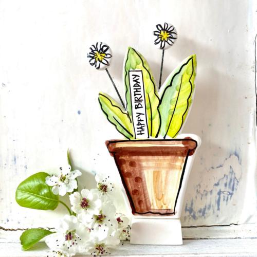 Happy Birthday Pottery Flowerpot ornament