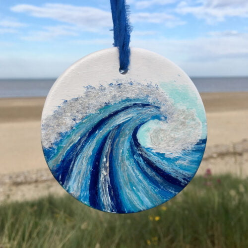 Hand Painted Ceramic Wave Bauble by Joy Clifton, Christmas Bauble, Surf Art, Coastal Art