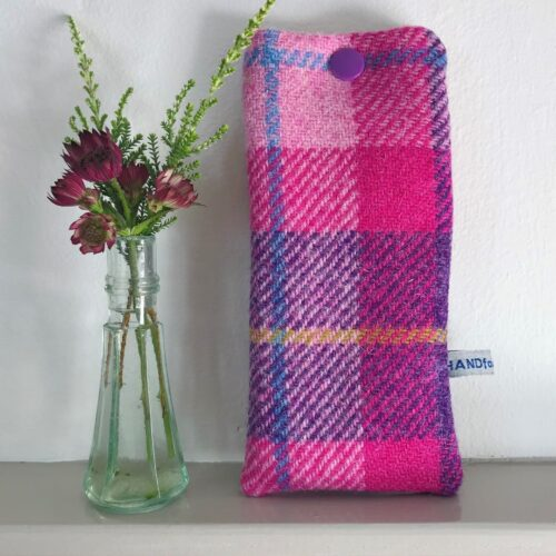 Pink-and-Lilac-Harris-Tweed-Glasses-or-Sunglasses-Case