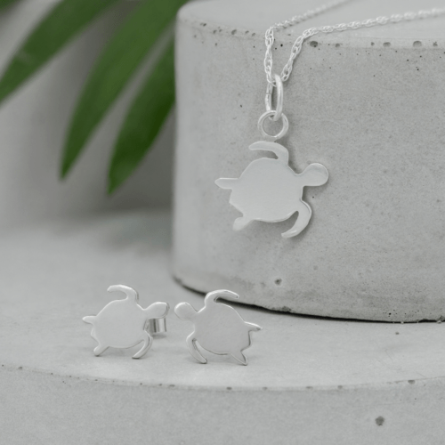 Turtle Necklace and Earrings Shine On