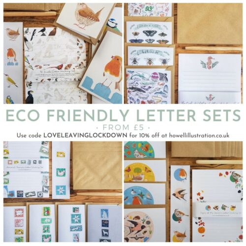 Four recycled paper letter sets with different paper designs inspired by nature. Each includes four blank notelets that match the paper design.