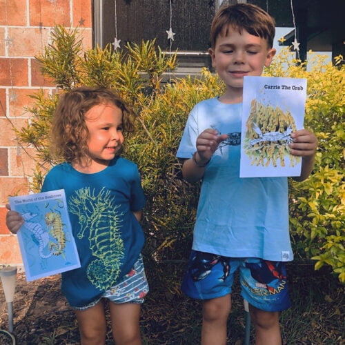 Lifeforms Art Children's products, seahorse T-shirt and shore crab T-shirt with storybooks