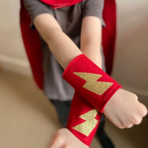 Felt Superhero Arm Cuffs. Choose Colour and Star / Flash Decoration