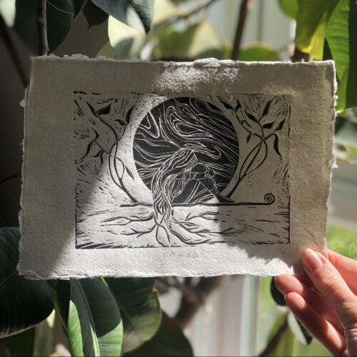 bpprintco, root to rise, a lino print artwork of a woman sat in front of the moon