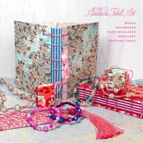 Anastacia Tohill Art, Handmade Books, Coptic Stitch Book, Book Necklace, Jewellery, Bracelets, Macrame Bracelet, Bookmark, Greeting Cards