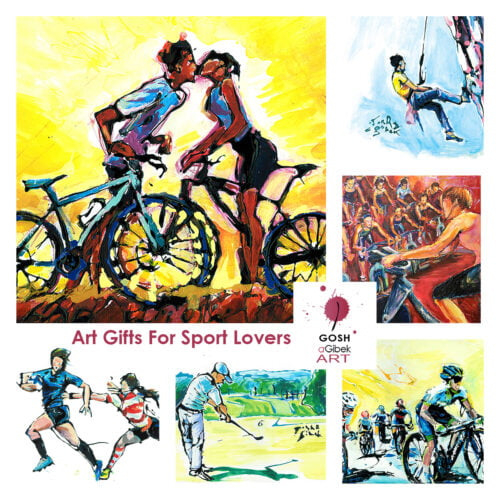 Art Gifts For Sport Lovers Cyclists Runners Golf Rugby Rock Climbing
